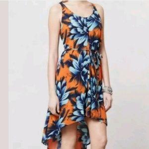 Anthropologie Maeve Sunset Hibiscus Hi Lo Dress 12